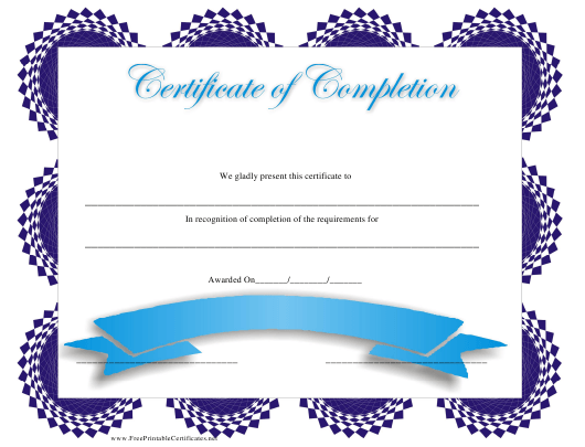 """""""Blue Certificate of Completion Template"""" Download Pdf"""