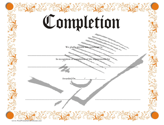 """""""Orange Certificate of Completion Template"""" Download Pdf"""