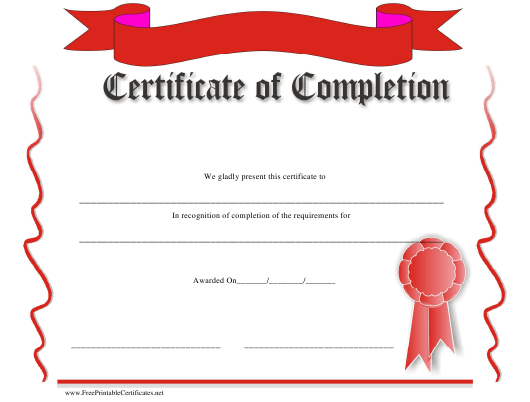 """""""Certificate of Completion Template - Red Ribbon"""" Download Pdf"""