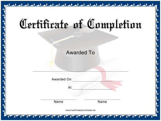 """Blue Certificate of Completion Template"" Download Pdf"