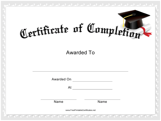 """""""Course Certificate of Completion Template"""" Download Pdf"""