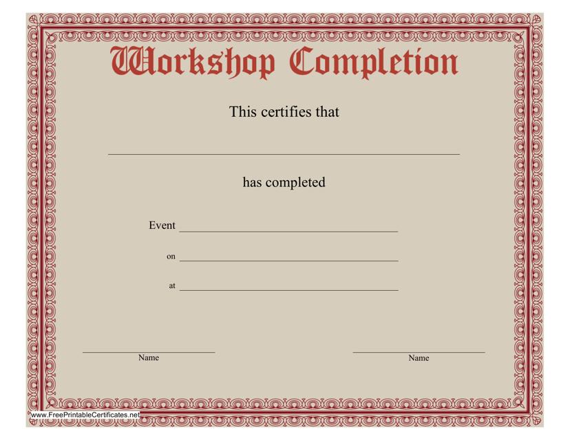 """Workshop Certificate of Completion Template"" Download Pdf"