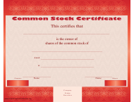 """Red Common Stock Certificate Template"""