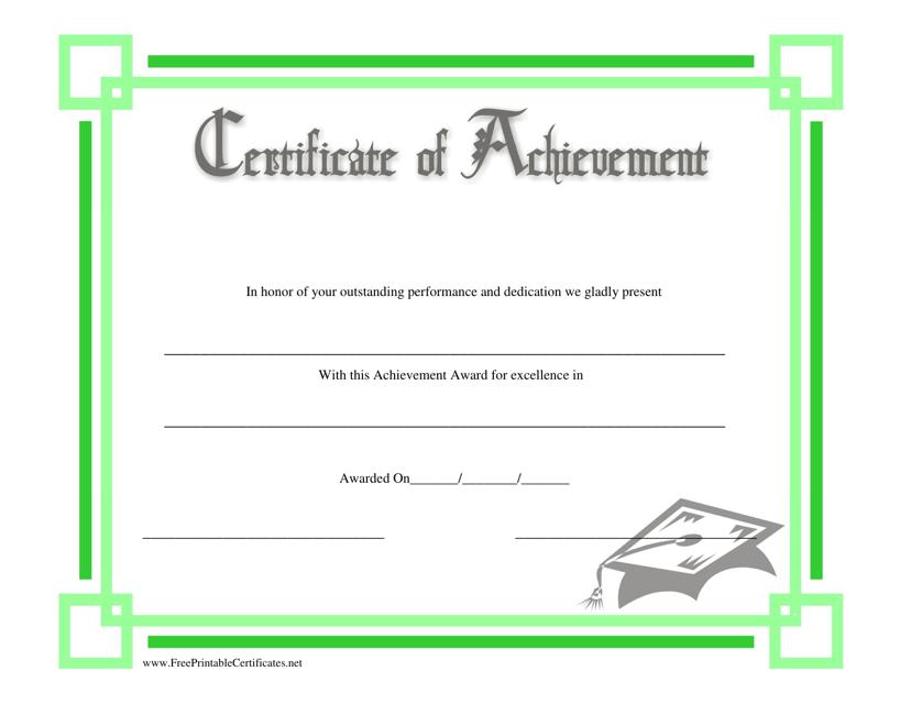 """Green Certificate of Achievement Template"" Download Pdf"