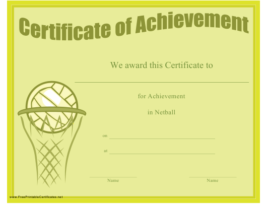 """Netball Achievement Certificate Template"" Download Pdf"