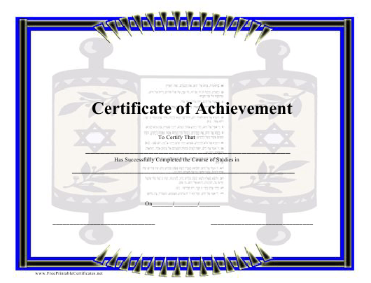 """""""Jewish Course Completion Certificate Template"""" Download Pdf"""