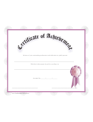 Pink Certificate Of Achievement Template