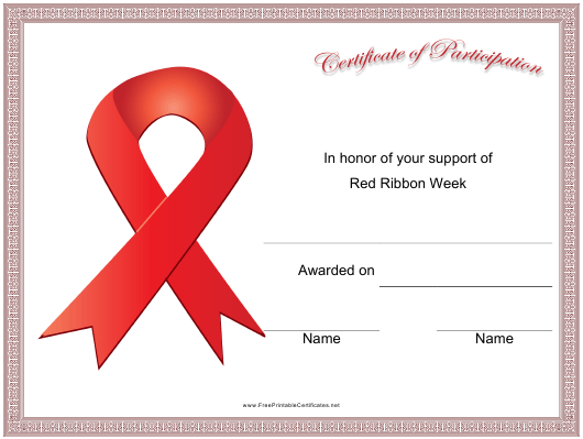 """""""Red Ribbon Week Ribbon Participation Certificate Template"""" Download Pdf"""