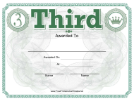 """""""Third Place Certificate Template"""""""