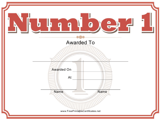 """Number One Certificate Template"" Download Pdf"