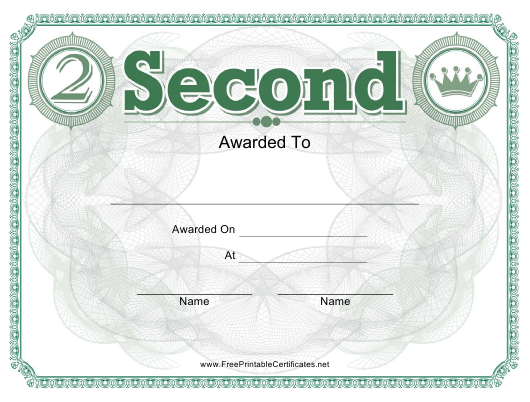 """""""Second Place Certificate Template"""" Download Pdf"""