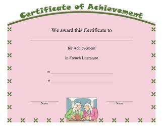 """French Literature Achievement Certificate Template"""