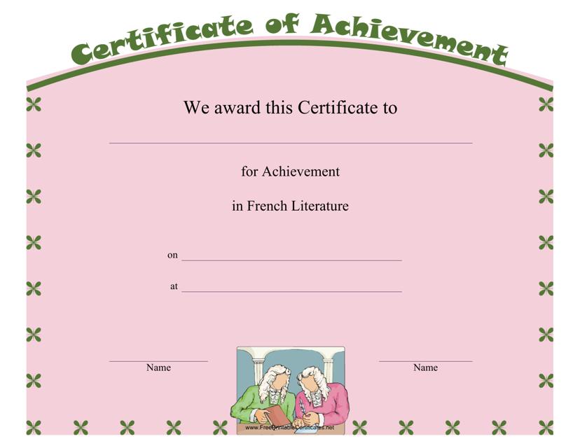 """French Literature Achievement Certificate Template"" Download Pdf"