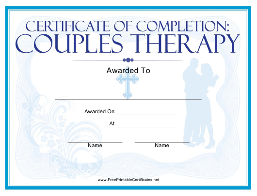 """""""Religious Couples Therapy Certificate Template"""" Download Pdf"""