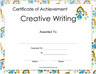 """Creative Writing Certificate of Achievement Template"""