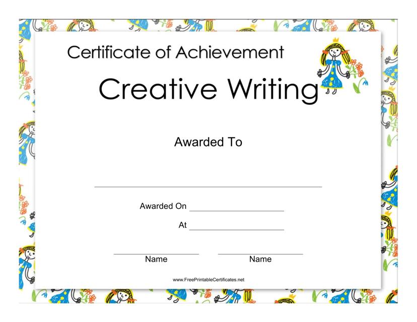 """Creative Writing Certificate of Achievement Template"" Download Pdf"
