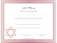 """Pink and White Bat Mitzvah Certificate Template"""
