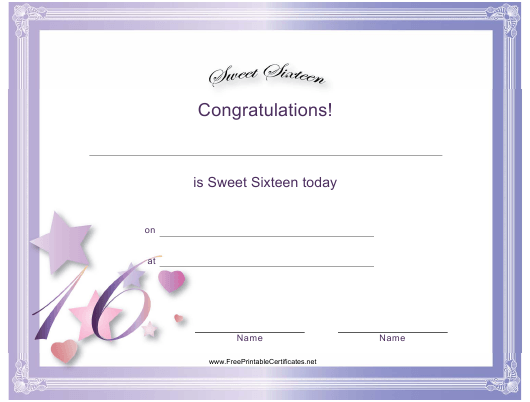 """Sweet Sixteen Certificate Template"" Download Pdf"
