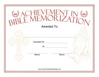 """Bible Memorization Prayer Certificate Template"""