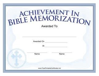 """Bible Memorization Achievement Certificate Template"""