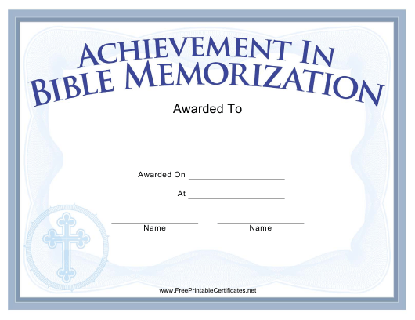 """Bible Memorization Achievement Certificate Template"" Download Pdf"