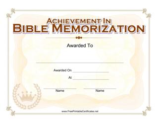 """Bible Memorization Certificate Template"""