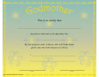 """Godmother Certificate Template"""