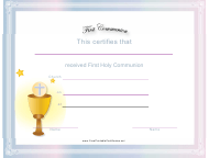 """First Communion Certificate Template"""