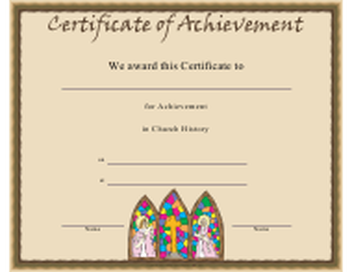 """Church History Certificate of Achievement Template"""