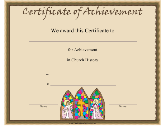 """Church History Certificate of Achievement Template"" Download Pdf"