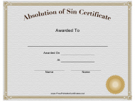 """Absolution of Sin Certificate Template"""