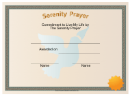 """Serenity Prayer Certificate Template"""