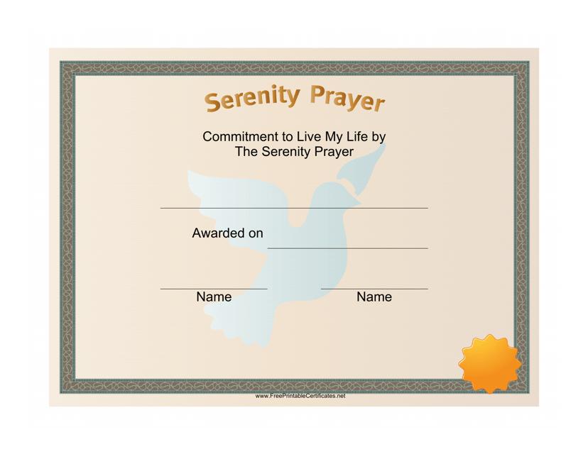 """Serenity Prayer Certificate Template"" Download Pdf"
