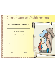 Bible Interpretation Achievement Certificate Template
