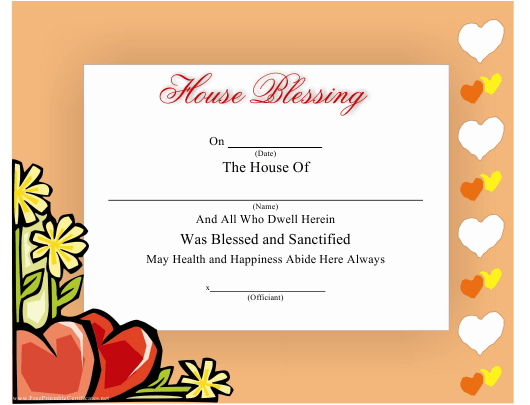 """""""House Blessing Certificate Template"""" Download Pdf"""