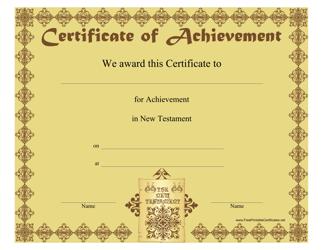 """New Testament Achievement Certificate Template"""