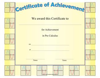 """""""Pre-calculus Achievement Certificate Template"""""""