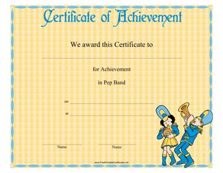 """Pep Band Achievement Certificate Template"""