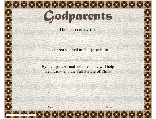 Godparents Certificate Template Download Printable Pdf Templateroller