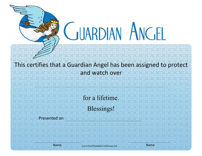 """Guardian Angel Certificate Template"" Download Pdf"