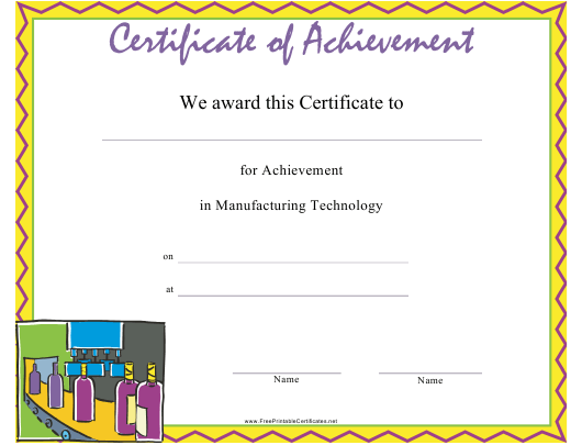 manufacturing technology achievement certificate template