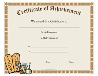 """Old Testament Achievement Certificate Template"""