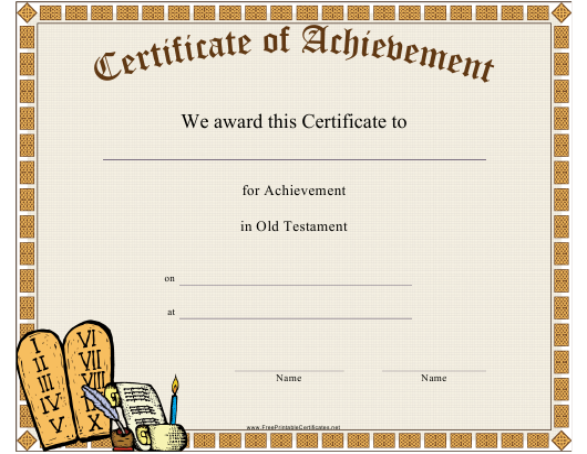 """Old Testament Achievement Certificate Template"" Download Pdf"