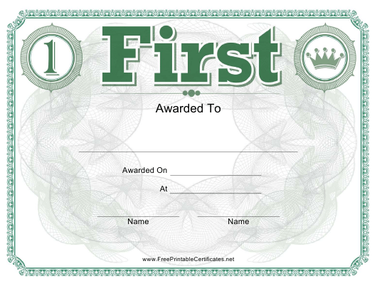 """First Place Certificate Template"" Download Pdf"