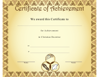 """Christian Doctrine Achievement Certificate Template"""
