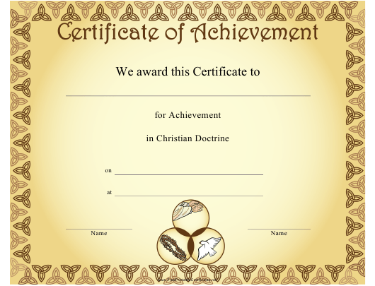 """Christian Doctrine Achievement Certificate Template"" Download Pdf"