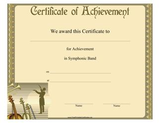 """Symphonic Band Achievement Certificate Template"""