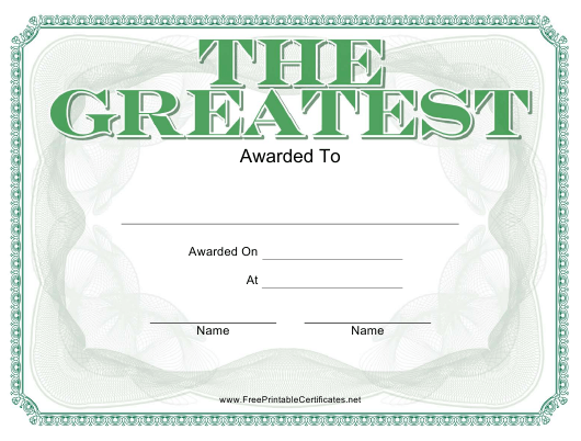 """""""The Greatest Award Certificate Template"""" Download Pdf"""
