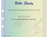 Bible Study Certificate Template