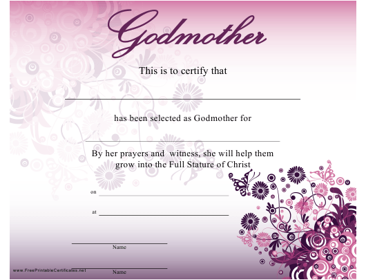 """""""Godmother Certificate Template"""" Download Pdf"""
